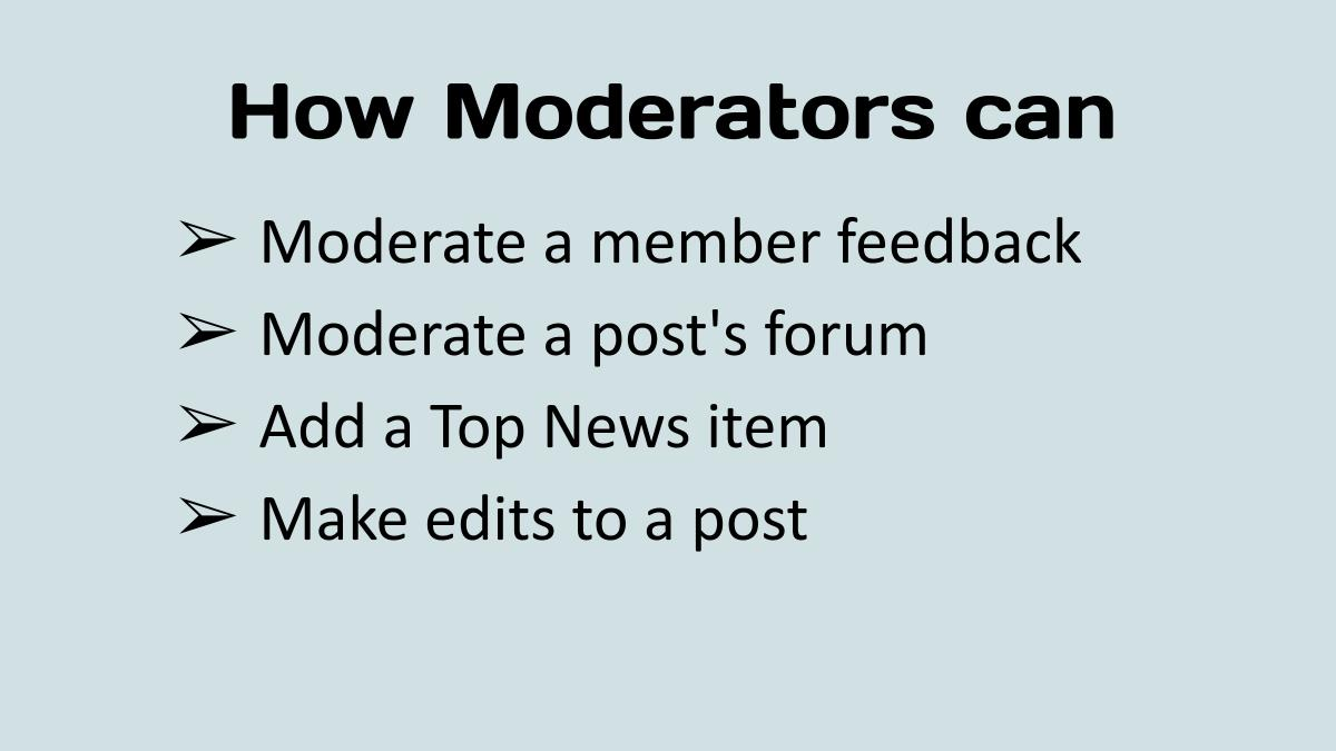 How to moderate a post